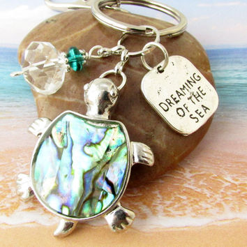 Quote Keychain, Dreaming of the Sea Keychain, Sea Turtle Keychain, Abalone Turtle Keychain, Car Accessory