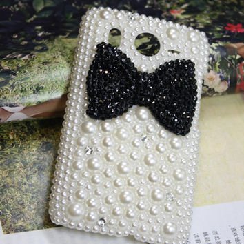 Handmade Charms Bowknots Pearl Rhinestone Bling Phone Case For Htc Desire HD A9191/AT&T Htc Inspire 4G