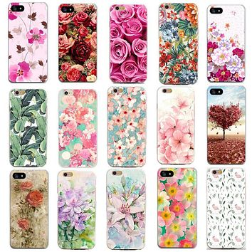 Thin Case For Apple Iphone 7 7 Plus 6 6S 5 5S SE 4 4S Cover Cases Flowers Painted For Iphone Phone Case Soft Slim Shell