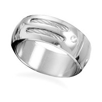 Men's Stainless Steel and Cable Ring