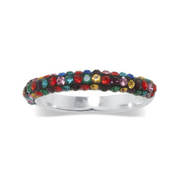 jcpenney | Multicolor Crystal Pure Silver-Plated Band Ring