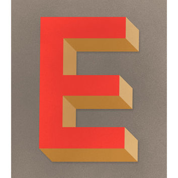 The Letter E, Original Art Print, Typography, Alphabet, Monogram, Red Orange, Antique Gold