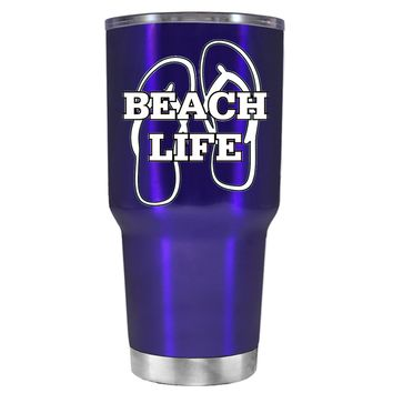 The Beach Life Sandals on Intense Blue 30 oz Tumbler Cup