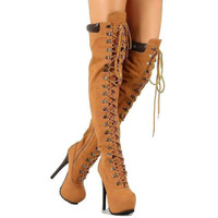 Polly-yh2 Lace up Over-the-knee Boots High Heels - Cutesy Originals
