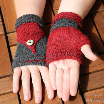 "Fingerless Mittens ""Follow Me""  knitting pattern PDF download - suitable for advanced knitters, eye catcher, diy holiday gift"