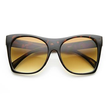 Women's Oversize Horned Rim Pointed Cat Eye Sunglasses 9610