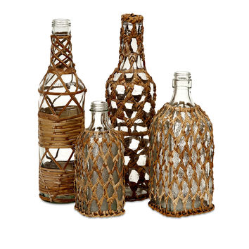 Manitoba Rattan Glass Bottles - Set of 4
