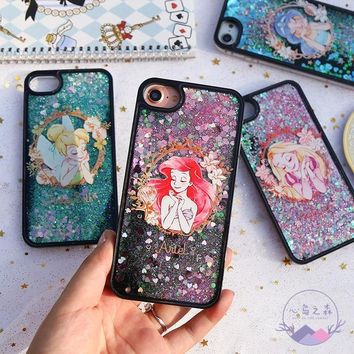 For iPhone 8 Tinkerbell Mermaid Girl Princess Glitter Liquid Cover Case For iPhone 6 6S 7 Plus