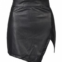 Black Asymmetric Hem PU Slim Skirt - Choies.com