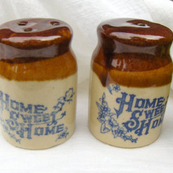 Vintage Salt & Pepper Shakers Home Sweet Home Brown