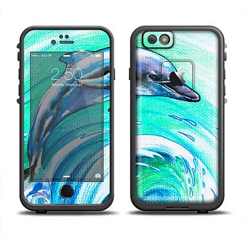 The Pastel Vibrant Blue Dolphin Apple iPhone 6 LifeProof Fre Case Skin Set
