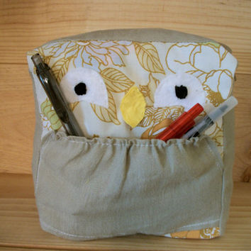 Owl Plush--Recycled--Pencil Carrier- Angelina