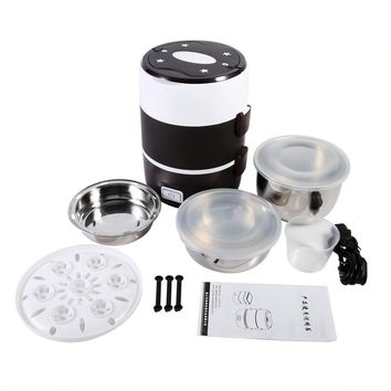 3 Layers Portable Lunch Box Mini Rice Cooker Steamer Stainless Steel 220v