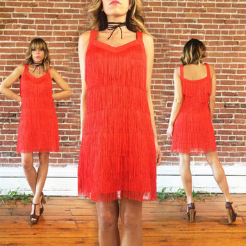 Vintage 70s Electric Red Fringe FLAPPER Shimmy Great Gatsby Cocktail Party Shift Dress || Size Medium