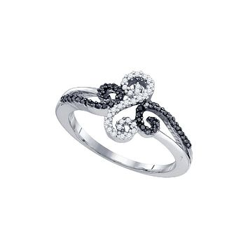 10kt White Gold Womens Round Black Colored Diamond Swirled Whimsical Band Ring 1/5 Cttw