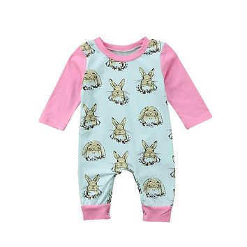 Newborn Baby Girls Clothing Newest Spring Easter Bunny Romper Baby Girls Long Sleeve Romper Casual Jumpsuit Playsuit