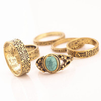 6pcs/set Vintage National Sculpture Rings Set Antique Gold Rings for Women Turquoise Gemstone Bijouterie Finger Rings