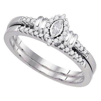10k White Gold Women's Marquise Diamond Wedding Ring Set - FREE Shipping (US/CA)