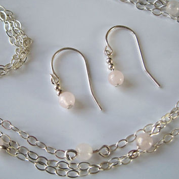 Triple Strand Rose Quartz and Sterling Necklace with Earrings