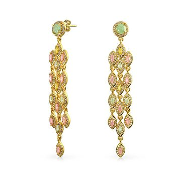 Pink Green Golden Marquise Waterfall CZ Earrings 14K Gold Plated