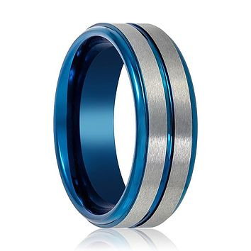 Blue Tungsten and Silver Brushed Grooved Tungsten Carbide Ring