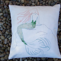 Embroidered mermaid cushion cover, embroidered mermaid pillow, mermaid throw cushion, sea glass mermaid cushion,siren pillow with sea glass