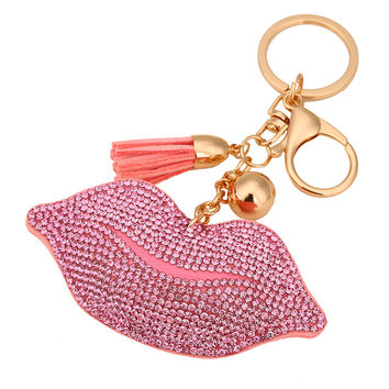Cute Tassels Leather Keychains Clover Crystal Key Chain Car Key Ring Lips Pendant Rhinestone Keychain DM#6