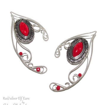 Red Silver Elf Ears, silver plated earcuffs with howlite gemstone, elven ears, fairy ears, elf ear cuff, Cosplay jewelry