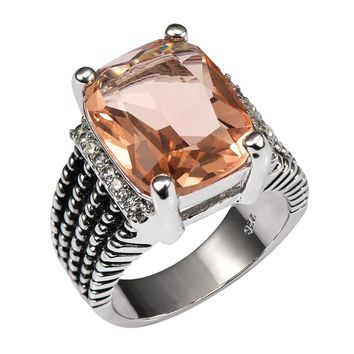 Morganite Elegant Ring - 925 Sterling Silver