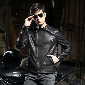 High quality mens genuine leather jacket European motorcycle jacket men spring autumn cowskin jaqueta masculina slim fit men