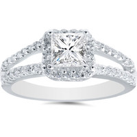 Real 1.03CT Princess Cut Diamond Engagement Ring Halo Split Shank 14K White Gold