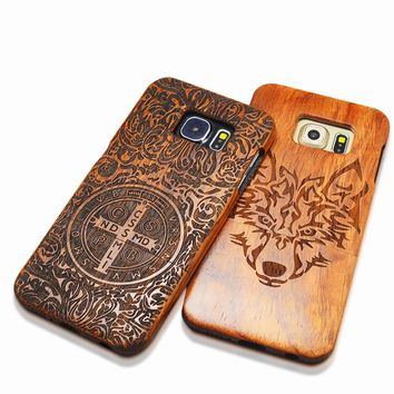Natural Wood Embossed Case For iPhone 5 5s SE 6 6s Plus Samsung Galaxy