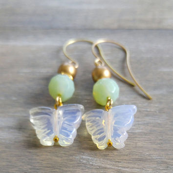 Summer vacation earrings, butterfly dangle earrings, gold dangle earrings, boho drop earrings, mint and gold beaded earrings, bohemian chic