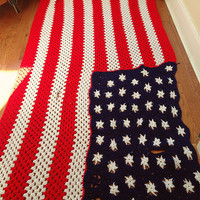 Vintage Patriotic American Flag Hand Crocheted Afghan Independence 4th of July