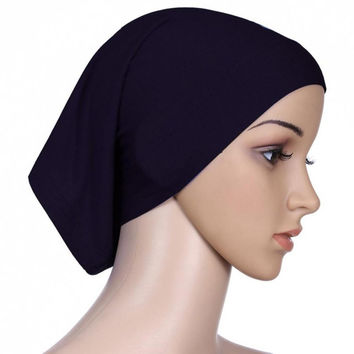 New Women Hijab Under Scarf Tuban Hair Bonnet Cap Bone Islamic Headscarf Head Cover 15 Colors PY4 SM6