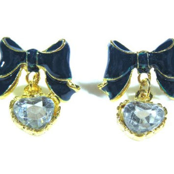 Ribbon Heart Crystal Earrings Dangling EE12 Navy Blue Bow Tie Statement Fashion Jewelry