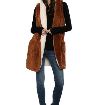 Brooklyn Karma Two Tone Sherpa Cardi