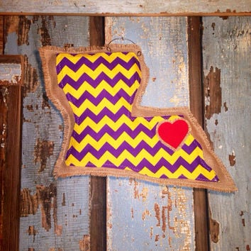 Louisiana burlap hanger LSU chevron