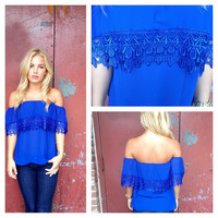 Royal Strapless Eyelet Lace Top