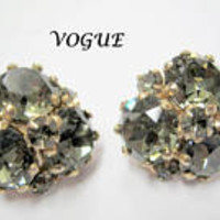 Vogue Rhinestone Earrings - Signed Faceted Earrings  - Green Gray Clip Ons