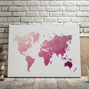 Canvas Art Print Pink World Map Nordic Poster Canvas Painting Landscape Posters And Prints Wall Pictures For Living Room Decor
