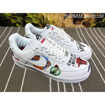 Nike Air Force 1 MID Supreme Graffiti BULLS Causal Skate Shoes White