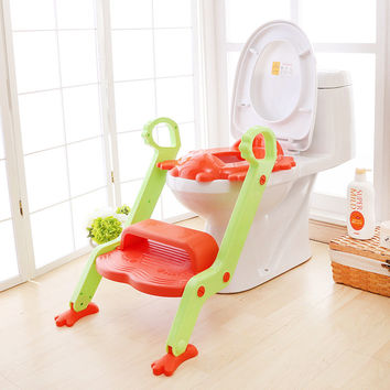Baby Potty Seat With Ladder Children Toilet Cover Kids Folding infant potty chair