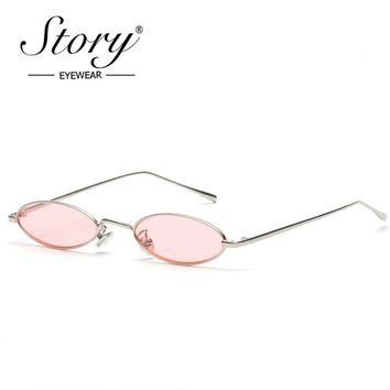 STORY 2018 Vintage Retro Small Oval Sunglasses For Men Women Gold Metal Frame Pink Clear Lens