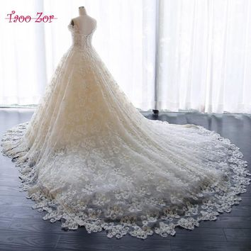 TaooZor Vestido De Noiva Lace Princess Wedding Dresses 2018 Backless Appliques Sweetheart Neck A Line Bridal Gown Plus Size