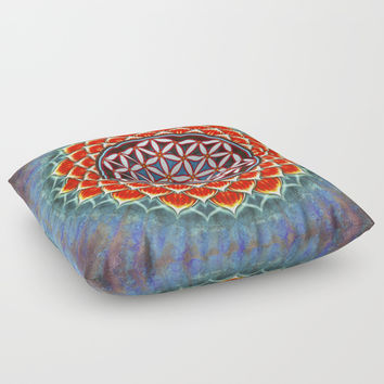 Flower Of Live - Red Lotus Floor Pillow by Dirk Czarnota