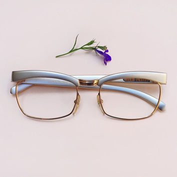 Vintage Cat-Eye glasses / Silver Aluminium 50s Frames /deadstock Eyeglasses / Sunglasses cateye / 1950s optical eyewear