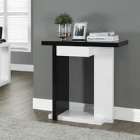 "Glossy White/Black 32""L Hall Console Accent Table"