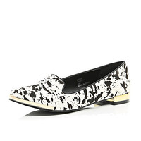 River Island Womens Black pony leather print slip-ons