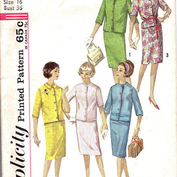 Simplicity 4859 Retro Jackie O Style Two Piece Suit Slim Skirt Collarless Jacket Sewing Pattern Bust 36